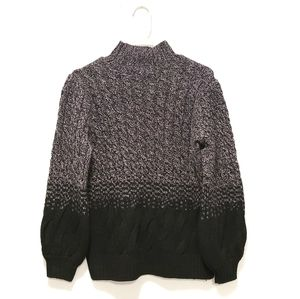 Tahari Two-Tone Black Gray Cable Knit Sweater